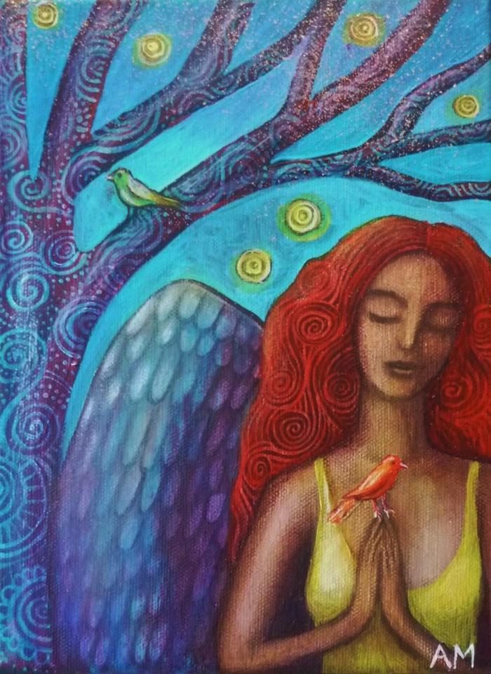 Woman Angel with Bird in prayer